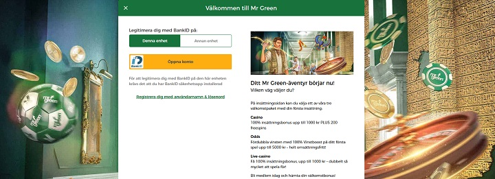 Mr Green med BankID